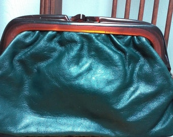 Green Genuine Leather Clutch Bag Made in Italy