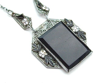 Victorian Pendant Necklace Glass Enamel Flower Metal Foral Filigree Black Jewelry Petite Chain
