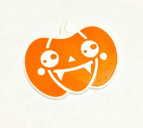 Laser Cut Supplies- 1 Piece. Kawaii Halloween Pumpkin Vampire Charms - Laser Cut Acrylic-Laser Cut- Little Laser Lab