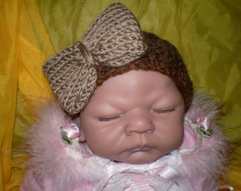 cute little hand knitted baby headband with large knitted bow shades of brown 0-3 months