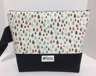 Wedge Bag, Knitting Project Bag, Zippered Bag, Large Shawl Size, Raindrops