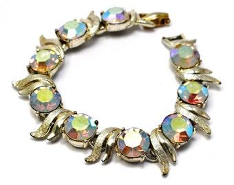 Vintage Art signed silver toned chunky AB rhinestone bracelet