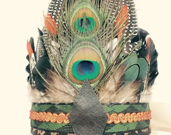 BREEZE - Bohemian Headdress, Feather Headpiece,  Feather Headband, Festival Accessories, Tribal, Native American, Boho