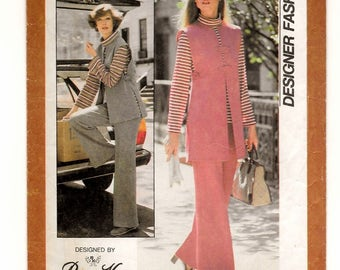 "A Long Sleeve, Roll Collar Tunic, Long/Short Side Split Vest & Wide Leg Pants Pattern for Women: Uncut- Size 10 Bust 32.5"" • Simplicity 8196"