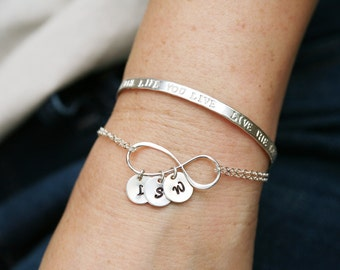 Large infinity monogram bracelet, sterling silver,family initial bracelet,Personalized,custom font monogram,Sister gift,Mother's day gift