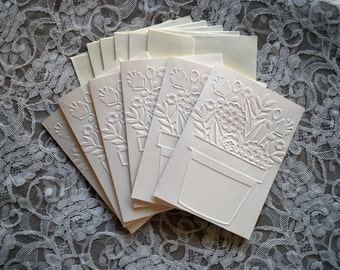 Handmade greeting cards: Set of 6 embossed flower pot cards and envelopes