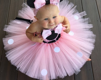 Classic Minnie Mouse Inspired Tutu Dress, Minnie Mouse Birthday Outfit, Pink Minnie Mouse, Pink Minnie Mouse