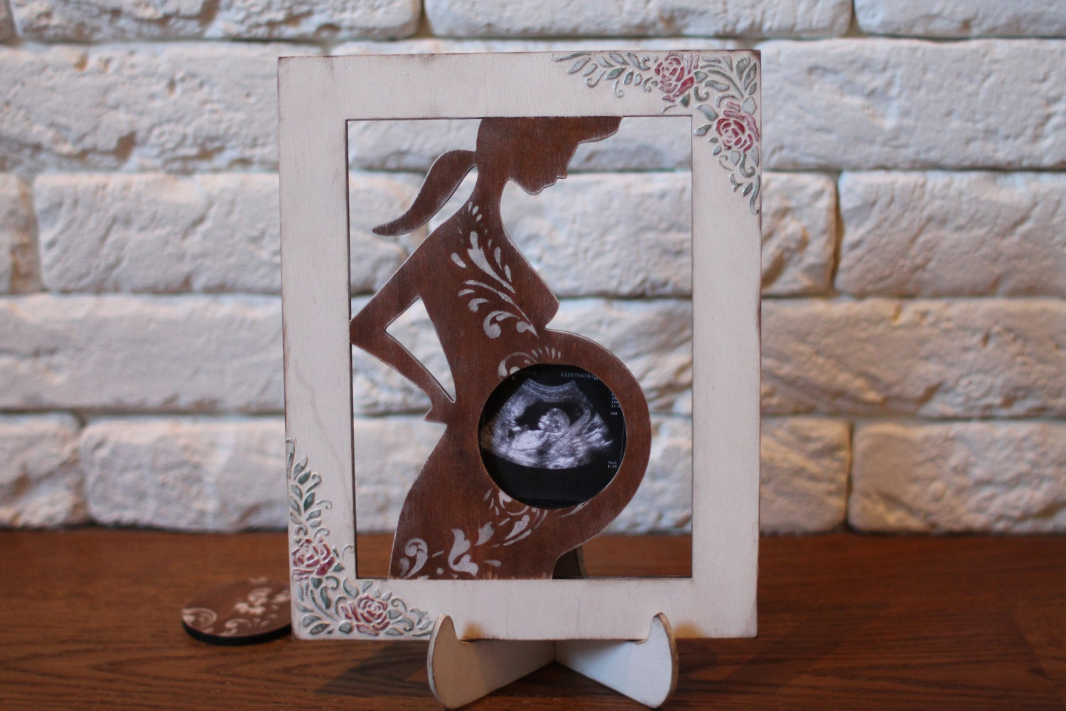 Pregnancy frame wooden photo frame ultrasound frame pregnancy gift pregnancy frame wooden photo frame ultrasound frame pregnancy gift white wood picture frame parent gift table centerpiece baby scan jeuxipadfo Image collections