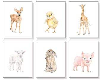 Girl Nursery Decor Girl Nursery Print Girl Nursery Art Girl Nursery Wall Art Baby Animal Nursery Wall Decor Girl Watercolor Art Prints Set 6
