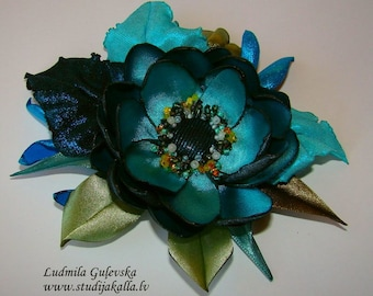 Handmade aeruginous satin flower brooch, flower pin, embroidered flower