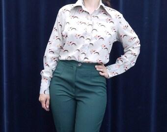 1970's shirt 60's 70's Vintage Shirt Grey Flowers Lion print Shirt Long sleeve Groovy Hippie Blouse medium large / D1