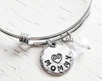 Mommy Bangle Bracelet, Adjustable Charm Bracelet, Gift for Mom, Personalized Mothers Bracelet, Mothers Day Gift, New Mom Gift, Mommy Jewelry