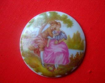 Limoges porcelain cabochon * 4.4 cm *.