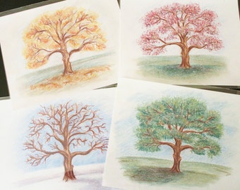 Four Seasons Art Prints Set of Four Ready For Framing