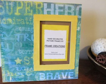 5x7 Super Hero Themed - Hand Decorated Picture Frame