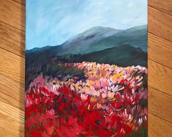 acrylic original painting on canvas/California poppy landscape/painting original/acrylic contemporary landscape wall art/nature wall art/