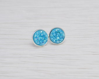 Blue Druzy Earrings, Stud Earrings, Light Blue, Druzy Stud Earrings, Blue Stud Earrings, Faux Druzy Earrings, Baby Blue Earrings, Faux Plugs