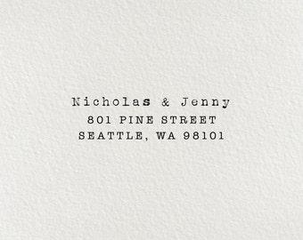 Return Address Stamp, Self-Inking Address Stamp, Custom Stamp, Personalized Stamp, Typewriter Stamp, Wedding Stamp, Wood Stamp - Style #48