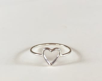 Stacking Heart Ring | Silver Heart Ring | Heart Outline Ring | Sterling Silver Ring | Gift for Her | Stackable Band Ring | Minimalist Ring