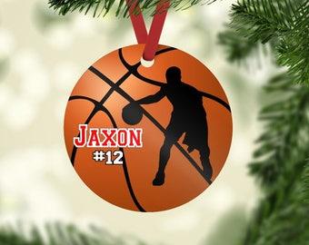 Basketball ornament, Basketball Christmas ornament, personalized ornament, boy basketball player gift, basketball team gift