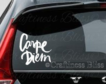 Carpe Diem Seize the Day 6 x 6 vinyl decal car window decal laptop decal car window decal laptop decal custom decal personalized decal
