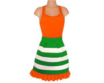 Orange + Green Stripe Scuba Skirt