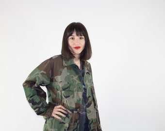 Vintage Camo Shirt | Camouflage Jacket | Military Surplus | Grunge Punk Fashion | Medium Short