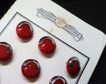 Bright Red Diminutive Glass Buttons... x11 On Original Card... Czech... 10mm
