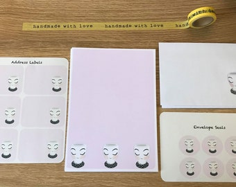 Pretty Pink Cup Writing Set Snail Mail Pen Pal Writing Paper Envelopes Envelope Seals And Address Labels
