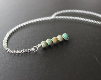 Turquoise and Sterling Silver Vertical Pendant Necklace