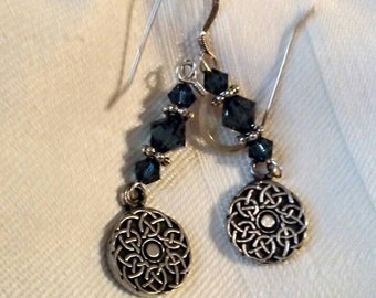 Montana Blue and Sterling silver pierced earrings with Celtic knot charms.