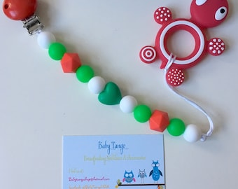 Large teething toy with clip* Silicone Teether* 100%food Grade silicone, BPA FREE
