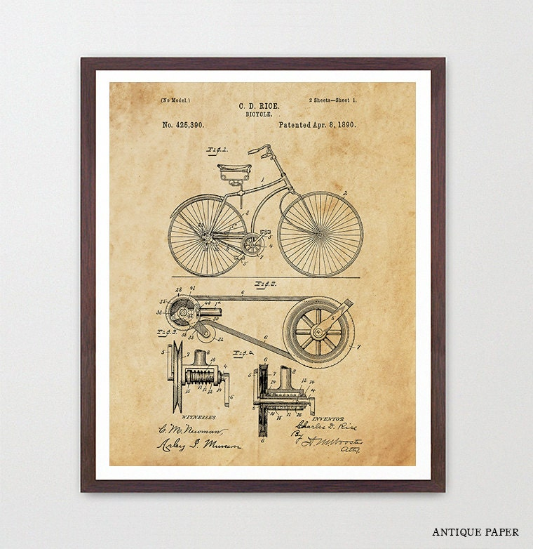 Bicycle Poster - Vintage Bicycles Patent - Bike Poster - Bike Art ...