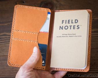 "Field Notes wallet, ""Park Sloper No Pen,"" notebook cover w/ back pockets - chestnut/tan"