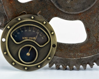 Steampunk Gauge Face - Antique Brass - Industrial Gauge - Old Gauge - Vintage Gauge - Steampunk Art