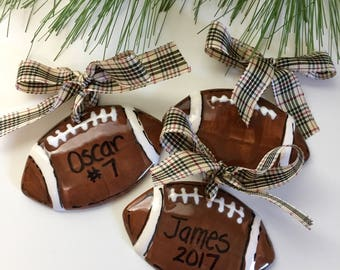 Football ornament, personalized football ornament, Hand painted, Personalized, football, team ornament, football Christmas ornament