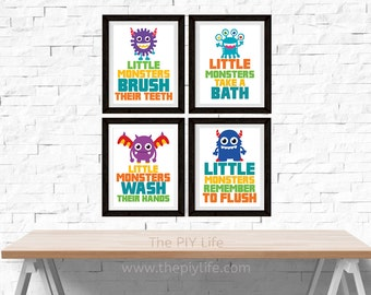 Home Decor | Little Monsters Bathroom Art Wall Art, Gift, Printed Art, Digital Art, Office, Free Shipping Black Friday Sale