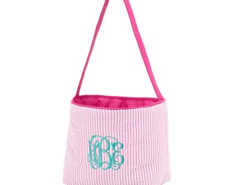 Pink Easter Basket Personalized Easter Tote Bag Monogrammed Gifts for Kids Gifts for Girls Easter Tote Bag Gifts For Kids