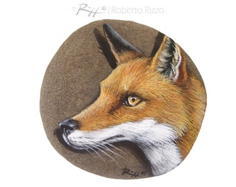 Unique Red Fox's Head Hand Painted on A Flat Sea Pebble | Fantastic Fine Art by Roberto Rizzo