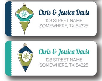 Christmas Return Address Labels - Retro Christmas