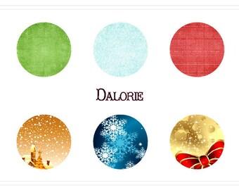 Noël, Collage, Planche d'Images Digital - Noël - 25 mm