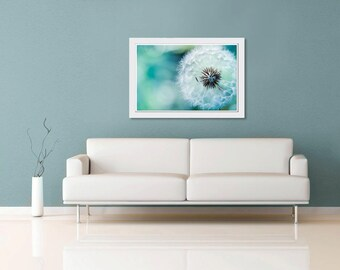 Nature photography dandelion botanical wall art 11x14 16x24 20x30 large print dandelion photo blue green teal spring macro dreamy delicate