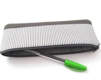 Small pencil case, cotton, vegan leather, gray, white, stripes
