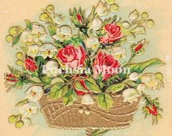 Digital Download : Beautiful Vintage Basket of Roses Valentine