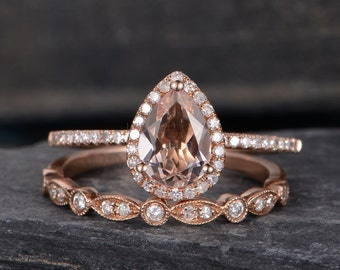 Morganite Engagement Ring Rose Gold Bridal Set Pear Shaped Ring Wedding Halo Diamond Half Eternity Band Women Tear Drop Anniversary Gift