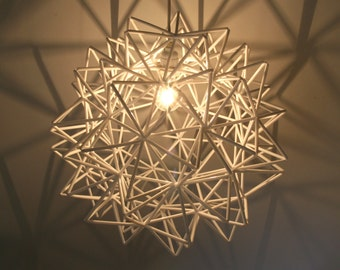 The Orion Pendant - White Himmeli Inspired Geometric Spherical Hanging Lamp