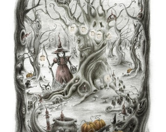 Hubble Bubble, Toil and trouble - pumpkins, witch, halloween, spooky woods - pagan - druid - forest - fairytale