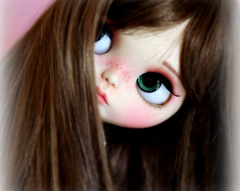"10-11"" BEAUTIFUL dark BROWN doll WIG for Blythe and Neo Blythe Custom"