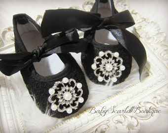 Black Lace Baby Girl Soft Sole Shoes,Crib Shoes