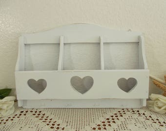 White Shabby Chic Heart Mail Key Rack Organizer Up Cycled Vintage Wood Letter Storage Romantic Beach Cottage Country Farmhouse Home Decor